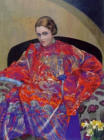 portret_ketrin_kempbell_v_krasno-sinem_tibetskom_halate_1926-1927